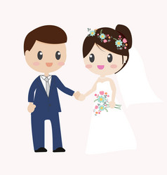 beautiful bride and groom couple in wedding dress vector image