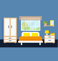Bedroom interior with furniture and window vector