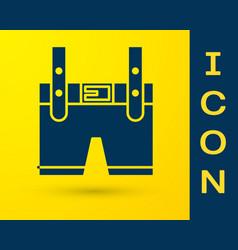 Blue lederhosen icon isolated on yellow vector