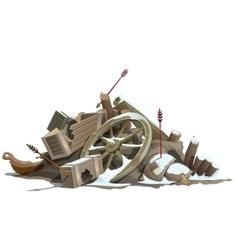 Broken to pieces wooden truck attack of Indians vector