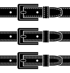 Buckle quilted belt black symbols vector