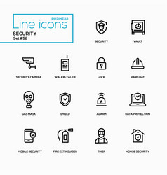 business concept security - line design icons set vector image