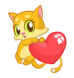 cartoon cute kitty in love and holding a heart lov vector image