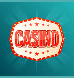 casino banner retro light frame with glowing lamps vector image