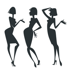 Chatting girls collection of fashionable g vector