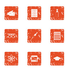 Chemical engineering icons set grunge style vector