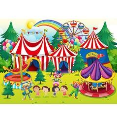 Children having fun at circus vector