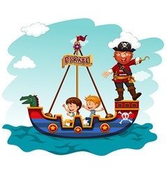 Children riding boat with pirate vector image