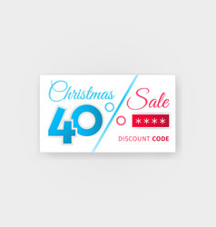 Christmas sale 40 percent discount coupon vector