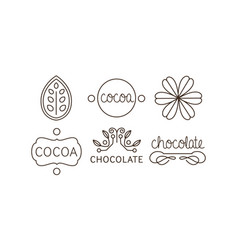 cocoa and chocolate line icons set labels and vector image