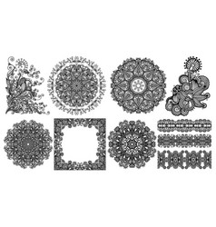 collection seamless decorative ethnic vector image