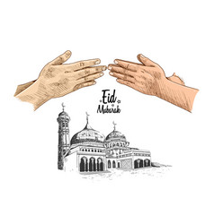 Colorful hand forgive and mosque hand drawn vector