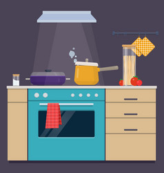 Cooking pans on the electric stove vector