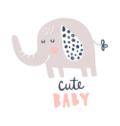 Cute baby elephant vector