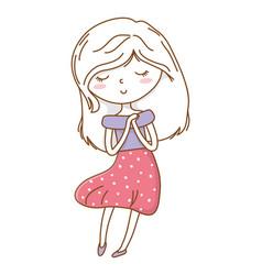 Cute girl cartoon stylish outfit dress isolated vector