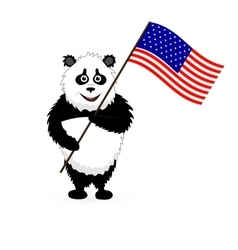 Cute Panda Holding USA Flag vector