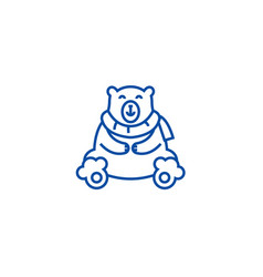 cute polar bear line icon concept cute polar bear vector image
