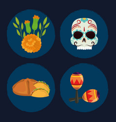 day dead set icons skull bread flowers vector image