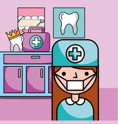 dentist girl equipment in consultation room vector image