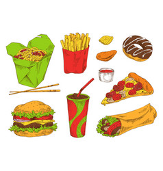 Different fast snacks set vector