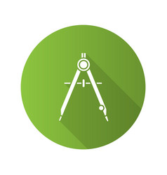 Drawing compass flat design long shadow glyph icon vector