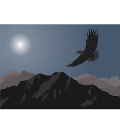Eagle flying over mountains vector