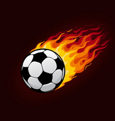Fire flying football ball for soccer poster vector