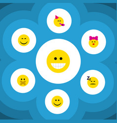 Flat icon emoji set of party time emoticon smile vector