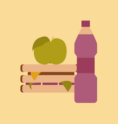 flat icon on stylish background sandwich apple vector image
