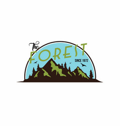 forest mountain adventure black and white badge vector image