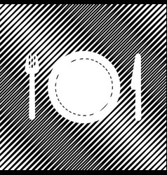 Fork plate and knife icon hole in moire vector