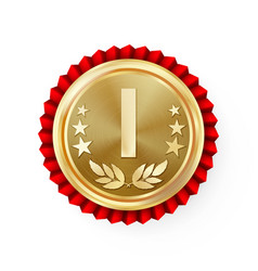 Gold 1st place rosette badge medal vector