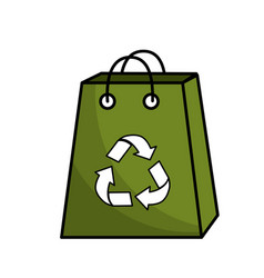 Green bag with reduce reuse and recycle symbol vector