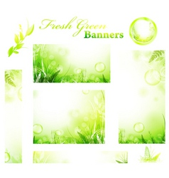 green banners vector image