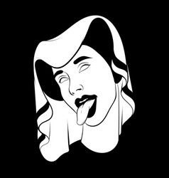 hand drawn woman with tongue in vector image