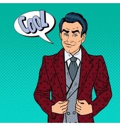 Handsome Confident Businessman Portrait Pop Art vector image
