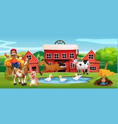 happy farmer at farmland vector image