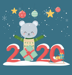 happy new year 2020 celebration cute bear with vector image
