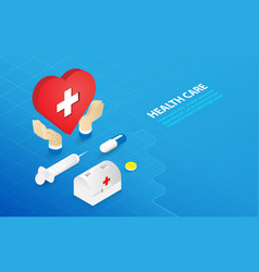 healthcare and medical concept flat and isometric vector image