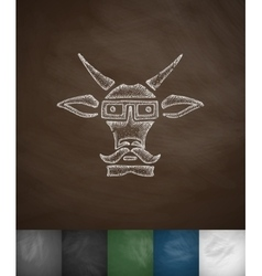 Hipster goat icon Hand drawn vector