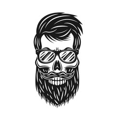 hipster skull with beard and sunglasses vector image