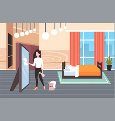 Housewife using dust cloth and spray bottle woman vector