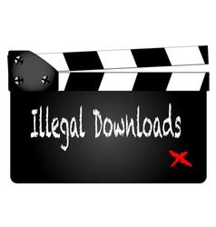 Illegal downloads clapperboard vector