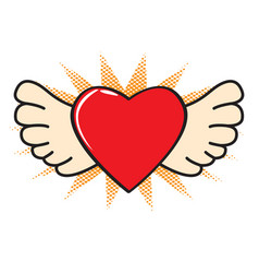isolated comic heart with wings icon vector image