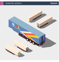 Isometric semi trailer clean model in four vector