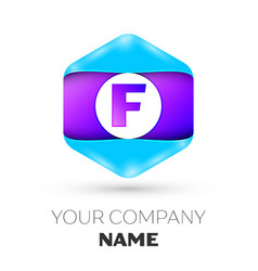 Letter f logo symbol in colorful hexagonal vector
