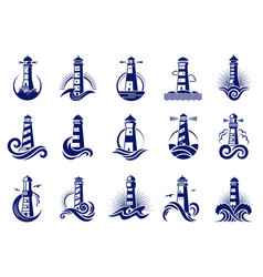 Lighthouse badges nautical marine travel business vector
