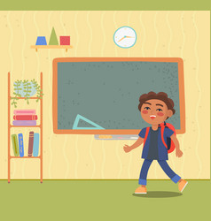 little pupil near chalkboard in classroom vector image