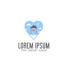 Love homes sweet in cloud logo design concept vector