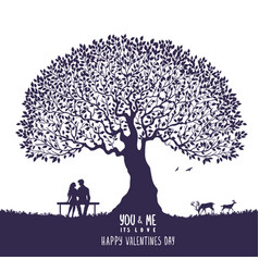 Lovers silhouette tree vector